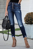 High Waist Jeans Button Down Denim Pants