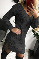 Casual v-neck slit dress