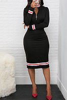 Classic Striped Webbing Half-Neck Zip Bodycon Dress