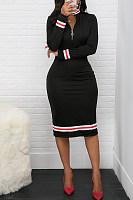 Classic Striped Webbing Half-Neck Zip Bodycon Dress