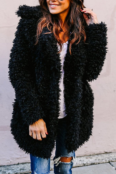 Fur Collar  Plain  Elegant  Outerwear