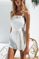 White Stylish Sleeveless Backless Rompers