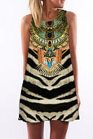 Round Neck  Animal Printed  Sleeveless Casual Dresses