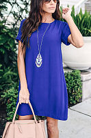 Round Neck  Zipper  Plain  Short Sleeve Casual Dresses