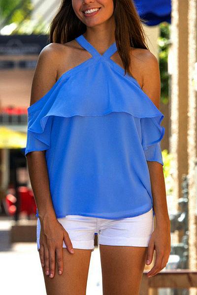 Open Shoulder  Backless Flounce  Plain Shirts & Blouses