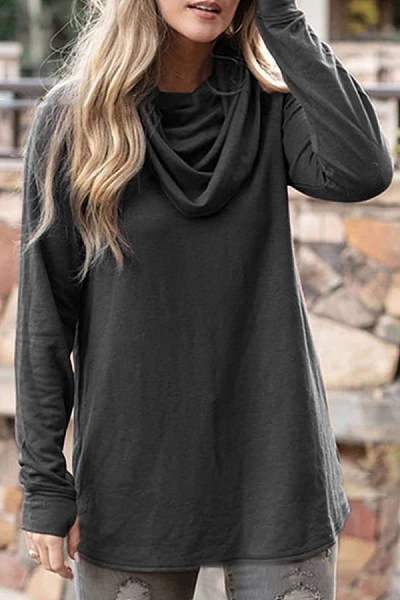 Heap Collar Loose-Fitting Plain T-shirt