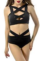 Asymmetric Neck Cutout Plain Bikini