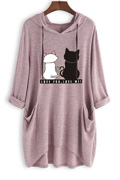 Cat Loose-Fitting Casual Hoody