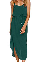 Spaghetti Strap  Drawstring  Plain  Sleeveless Maxi Dresses