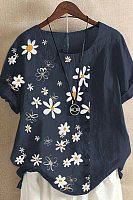 Casual Cotton And Daisy Printed Short-Sleeved Blouse