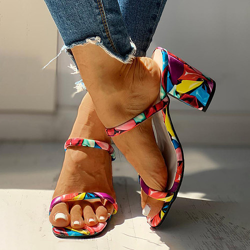 Fashion print colorful chunky heel sandals