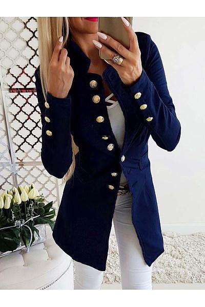 Band Collar  Decorative Buttons  Plain Blazers