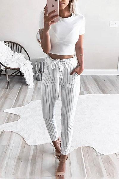 Slim Leg Belt Pants