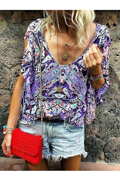 Scoop Neck Bohemian Printed T-Shirts