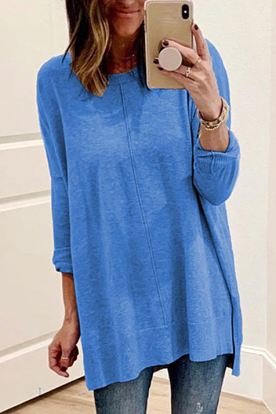 Autumn and winter simple knitted pullover T-shirt