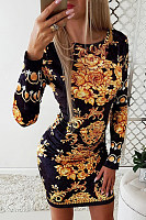 Fashion Round Neck Flower Print Skinny Long Sleeve Bodycon Dress