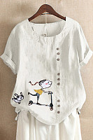 Casual Round Neck Solid Color Embroidered Short Sleeve T-Shirt