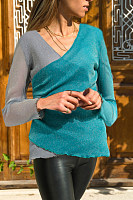 V Neck  Asymmetric Hem Patchwork  Patchwork T-Shirts