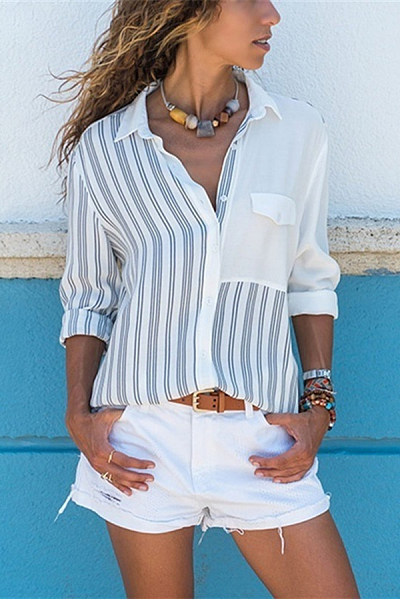 Casual Striped Single Breasted Shirts