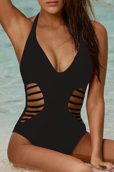 V Neck Hollow Out One piece