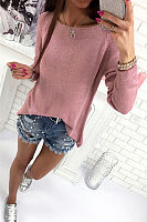 Scoop Neck  Asymmetric Hem Zipper  Plain Sweaters