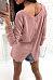 Scoop Neck  Asymmetric Hem Zipper  Plain Sweaters
