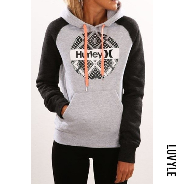 Gray Hooded Drawstring Letters Hoodies Gray Hooded Drawstring Letters Hoodies