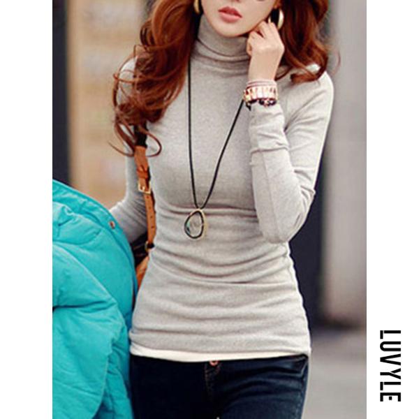 Light Gray Basic Turtleneck Plain Long Sleeve T-Shirt Light Gray Basic Turtleneck Plain Long Sleeve T-Shirt