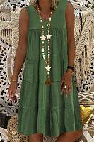 V Neck Pockets Solid Casual Dress