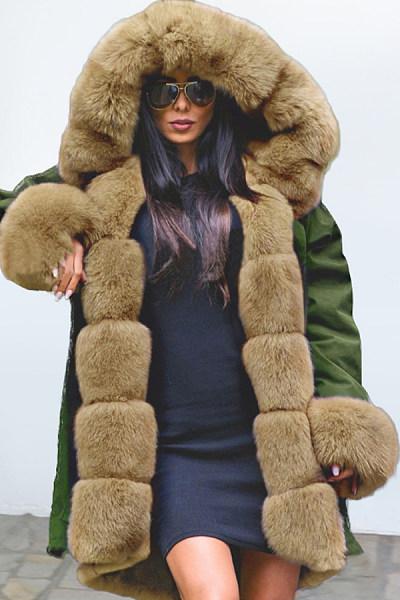 Fashion Noble Temperament Stitching Imitation Mane Fluffy Coat