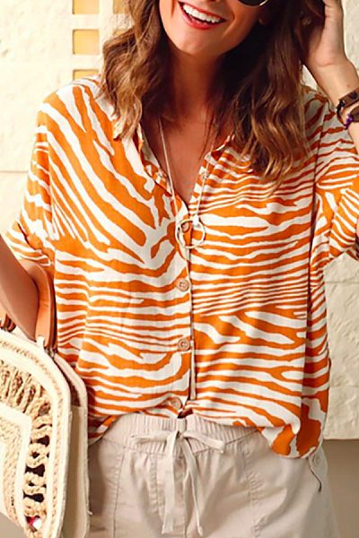 A Lapel Single Breasted Roll-Up Sleeve Casual Blouses