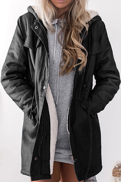 Hooded Long Sleeve Plain Outerwear