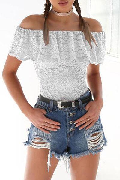 Off Shoulder  Backless Flounce  Lace Plain T-Shirts