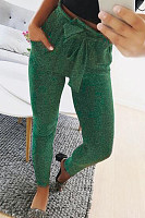 Fitted Plain  Casual Pants