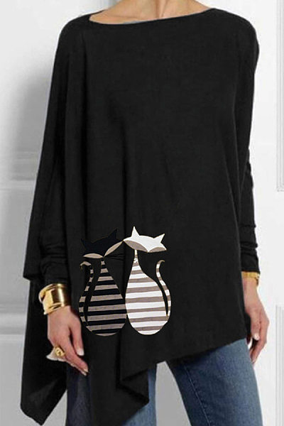 Round Neck Printed Loose Fitting Long Sleeve T-Shirt