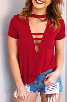 Fashion Cutout Short Sleeve T-Shirt