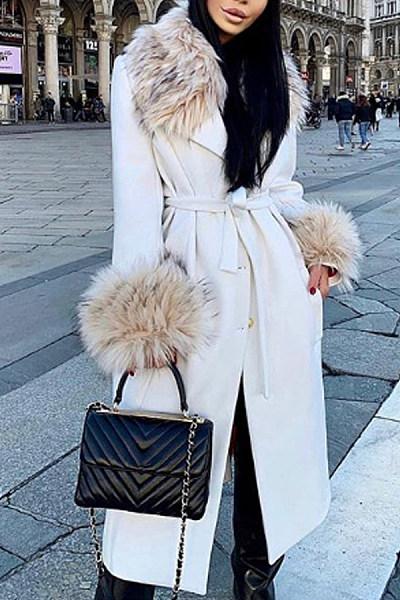 Fashion fur collar white loose wool coat