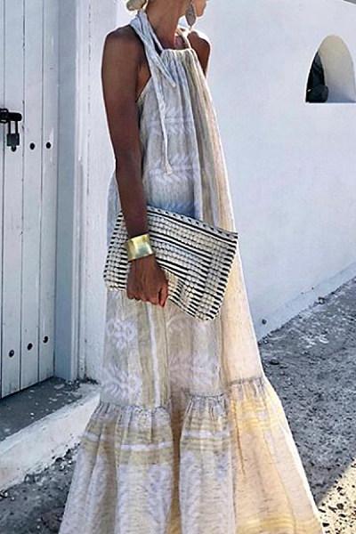 Tie Collar  Patchwork  Print  Sleeveless Maxi Dresses