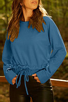 Round Neck  Drawstring  Plain Sweatshirts