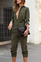 Fold Over Collar  Plain  Long Sleeve Jumpsuits