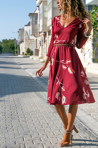Casual V-Neck Printed Long Sleeve Dress