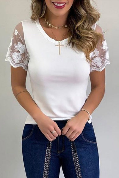 Round Neck Lace Sleeve Casual T-shirt