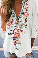V-neck Floral Print Five-point Sleeve Top