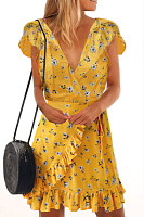 Deep V Neck  Asymmetric Hem  Belt  Floral  Extra Short Sleeve Casual Dresses