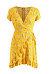 Deep V Neck  Asymmetric Hem  Belt  Floral  Extra Short Sleeve Casual Dresses