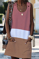 Round Neck Sleeveless Colouring Casual Dress