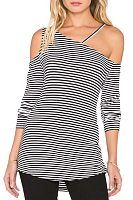 One Shoulder  Asymmetric Hem  Striped T-Shirts