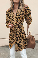 V Neck  Asymmetric Hem  Belt  Leopard Printed Outerwear