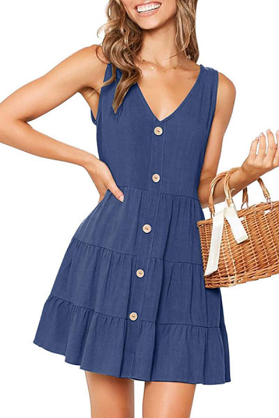 V Neck  Single Breasted  Plain  Sleeveless Casual Dresses