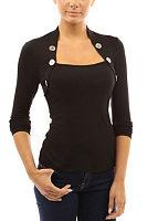 Asymmetric Neck  Decorative Buttons  Plain T-Shirts